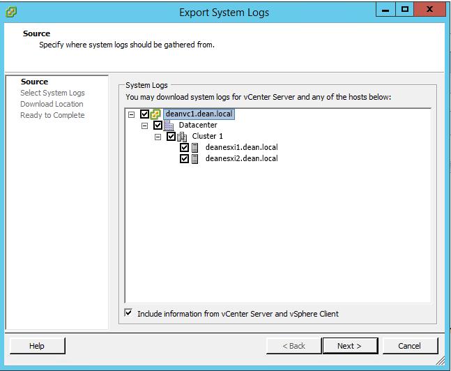 Logging – Part One: Generating vCenter Server and ESXi Log